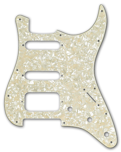 099-1338-000 Fender HSS Stratocaster Aged White Pearll 4 Ply Pickguard