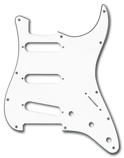 099-1360-000 Genuine Fender Stratocaster White 3 Ply Standard 11 Hole Pickguard