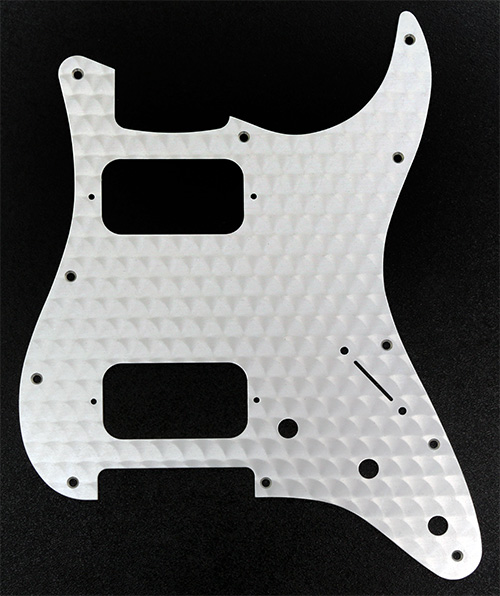099-1382-000 Fender HH Stratocaster Engine Turned Aluminum Clear 1 Ply Pickguard