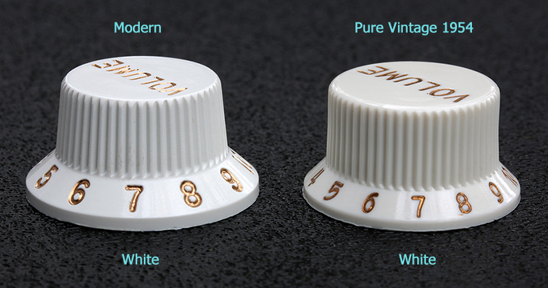 099-1396-000 Genuine Fender Stratocaster Pure Vintage 1954 Knobs Compared to Modern Knobs