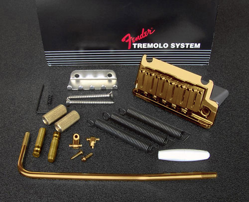 099-2050-200 Genuine Fender American Standard Stratocaster Tremolo Bridge Assembly, Gold