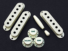 Customized Vintage 50s or 60s Accessory Kits With Green Lettered and Numbered Strat Knob Set