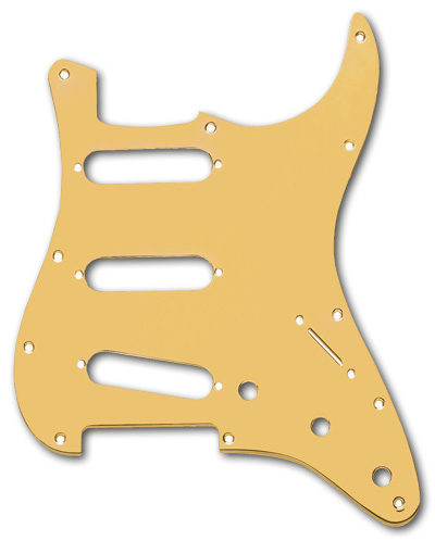 099-2139-000 Genuine Fender Stratocaster Gold Anodized Aluminum 1 Ply Standard 11 Hole Pickguard
