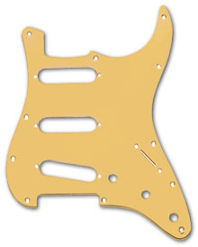 099-2139-000 - Fender Stratocaster Gold Anodized Aluminum 1 Ply Standard 11 Hole Pickguard