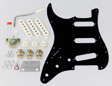 Left Handed Gilmour Black Strat Basic Pickguard Assembly Kit
