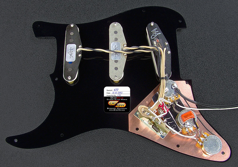 Complete Gilmour Black Strat Inspired Pickguard Assembly