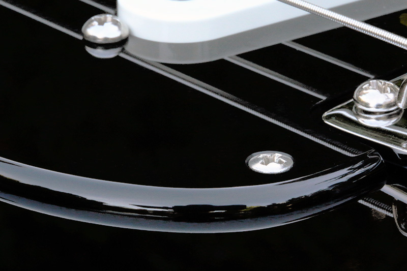 Black Strat Acrylic Pickguard Rounded and Polished Edge Detail