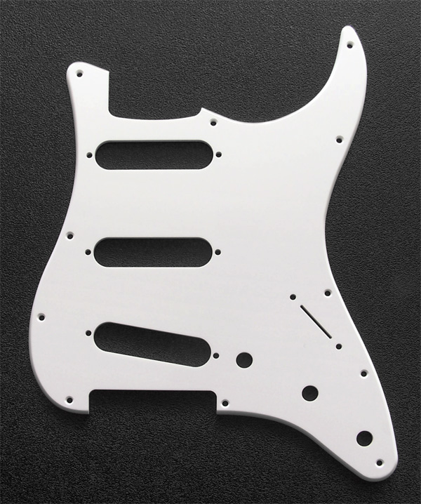 Custom Manufactured White 1 Ply 0.120'' Acrylic SSS Pickguard Rounded Polished Edge