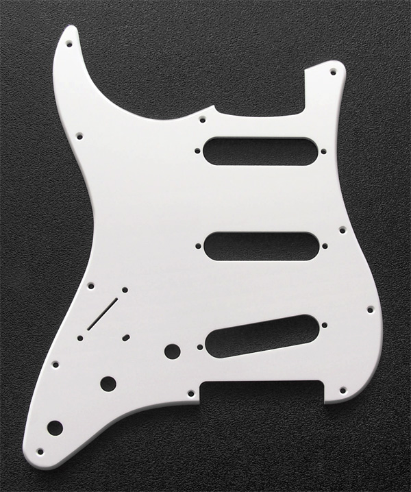 "Custom Manufactured White 1 Ply 0.120"" Acrylic Pickguard With Rounded and Polished Edge"