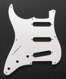 LEFT HANDED White 1 Ply 0.120'' Acrylic Pickguard with Rounded and Polished Edge