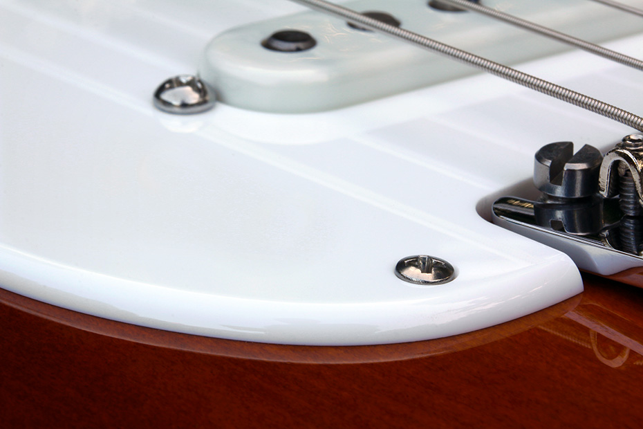 Custom Manufactured White 1 Ply 0.120'' Acrylic Pickguard With Rounded and Polished Edge
