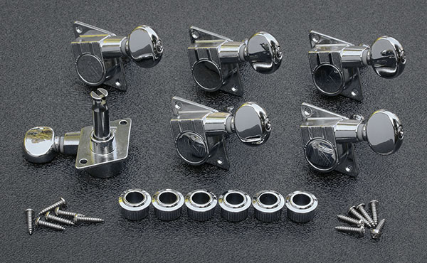"KFT-3805CL-  Kluson Revolution ""F"" Mount 70's Style Tuning Keys - Nickel"