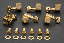 KLF-3805GL - Kluson Gold Locking Tuners For American Series Strat