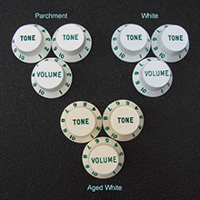 Customized Green Lettered and Numbered Strat Knob Set