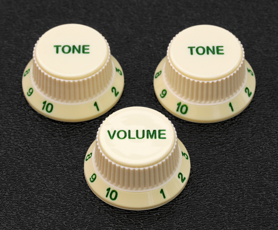 Customized Strat Soft Touch Aged White Knob Sets With Green Letters and Numbers