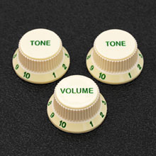 Vintage Style Green Lettered / Numbered Strat Soft Touch Control Knobs